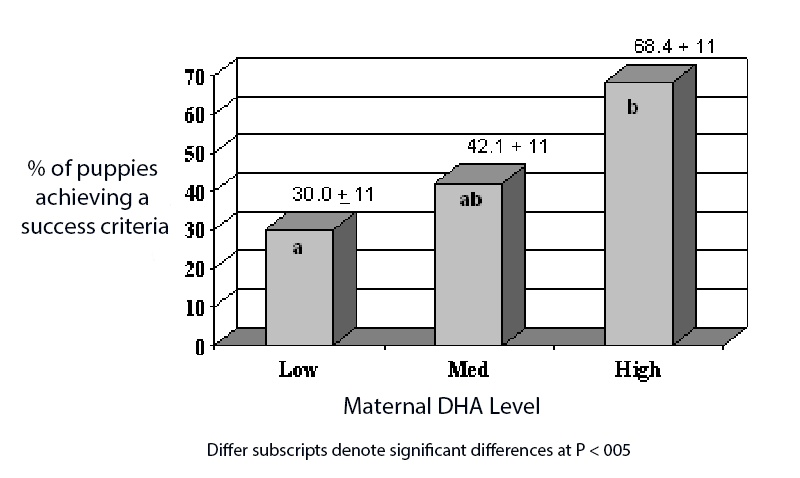 Figure 1. Effect of Maternal and Post - Weaning Diet on Puppy Trainability