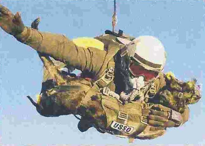 Airborn solider jumping with dog